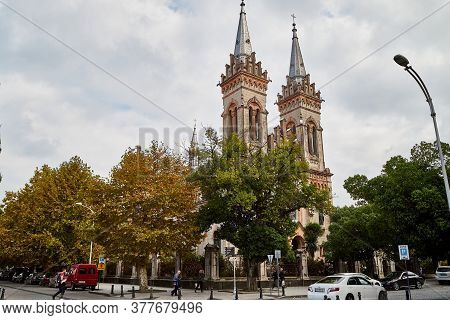 Batumi, Georgia - October 23, 2019: Part Of City Batumi With Houses And Plant On A Summer Or Autumn