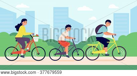 Happy Young Family Riding Bicycles In City Park Vector Illustration. Cartoon Smiling Mom, Dad And Ch