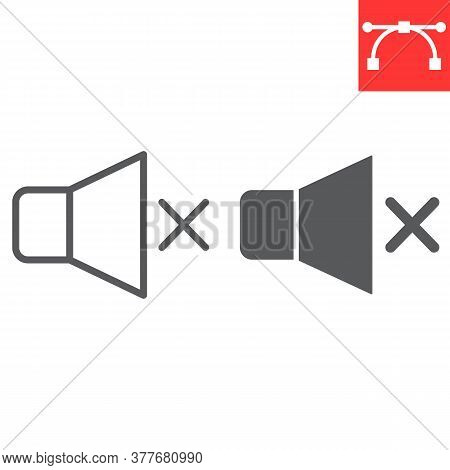 Mute Line And Glyph Icon, Ui And Button, Silent Sign Vector Graphics, Editable Stroke Linear Icon, E