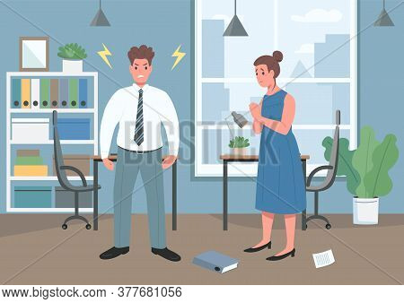Domestic Violence Flat Color Vector Illustration. Family Argument. Upset Woman. Angry Man. Aggressiv