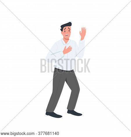 Stressed Man Flat Color Vector Detailed Character. Confused Guy. Frustrated Manager. Expression Of F