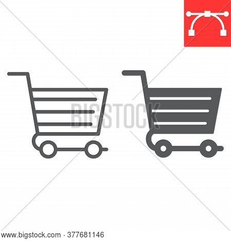 Shopping Cart Line And Glyph Icon, Ui And Button, Shop Cart Sign Vector Graphics, Editable Stroke Li