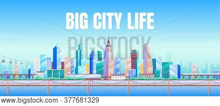 Big City Life Banner Flat Vector Template. Real Estate Agency Brochure, Booklet One Page Concept Des