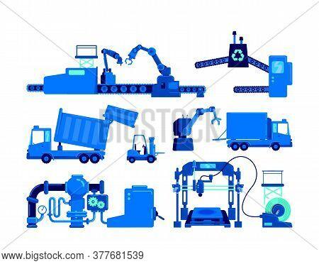 Production Equipment Flat Color Vector Object Set. Conveyor Belt For Manufacture. Industrial Machine