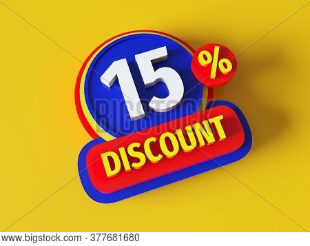 Discount 15% - 3d Rendered Concept Banner Design. Sale Abstract Creative Layout. Bitmap Raster Digit