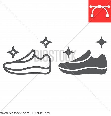Shoe Cleaning Line And Glyph Icon, Dry Cleaning And Wash, Run Shoes Sign Vector Graphics, Editable S
