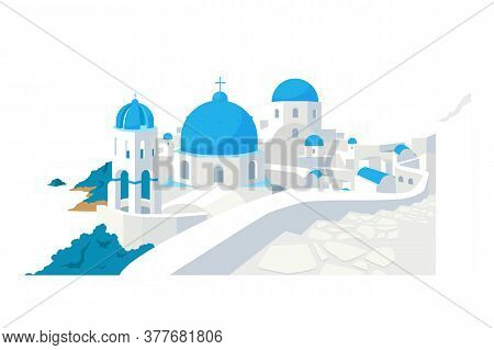 Santorini Buildings Flat Color Vector Object. Traditional Greek White Houses With Blue Roofs Europea