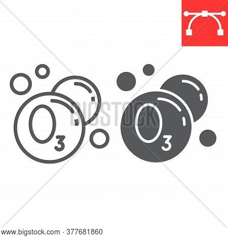 Ozonation Laundry Line And Glyph Icon, Dry Cleaning And Wash, Ozone Sign Vector Graphics, Editable S