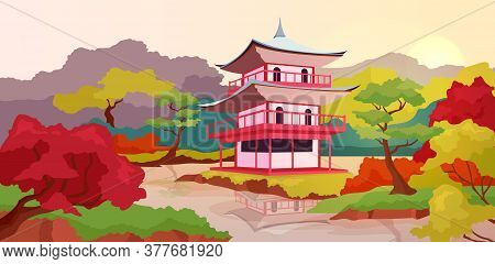 Asian Pagoda Flat Color Vector Illustration. Traditional, Ancient Temples In China. Chinese Architec
