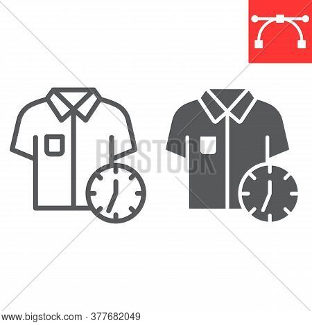 Express Dry Cleaning Line And Glyph Icon, Dry Cleaning And Wash, Shirt With Clock Sign Vector Graphi
