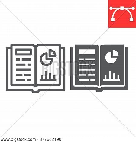 Homework Line And Glyph Icon, School And Education, Notebook Sign Vector Graphics, Editable Stroke L