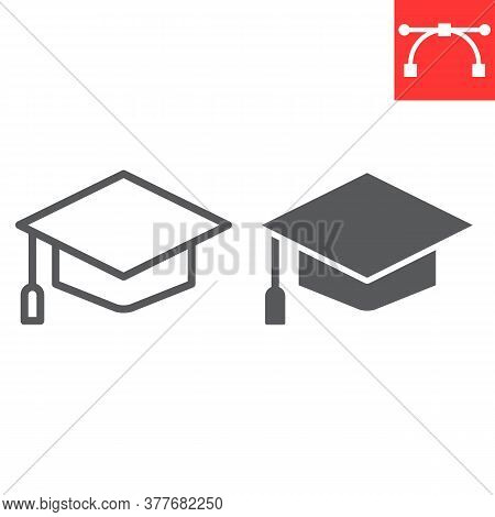Graduation Cap Line And Glyph Icon, School And Education, Graduate Sign Vector Graphics, Editable St
