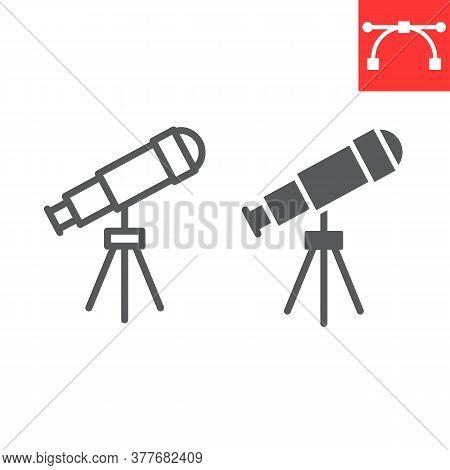 Telescope Line And Glyph Icon, School And Education, Telescope Sign Vector Graphics, Editable Stroke