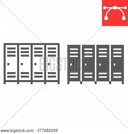 School Lockers Line And Glyph Icon, School And Education, Locker Sign Vector Graphics, Editable Stro