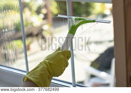 Close Up Person In Rubber Gloves Cleaning Apartment, Wipes Window, Rubs Dust With Wiper For Cleaning