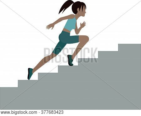 The Girl Climbs The Stairs. A Girl In Sportswear Runs Up The Stairs.