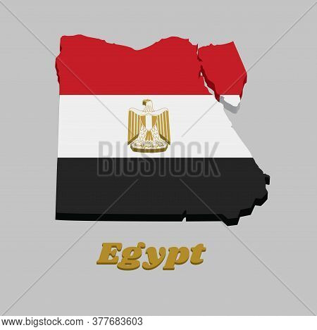 3d Map Outline And Flag Of Egypt,  Horizontally Divided Red White Black With The Egyptian Eagle Of S