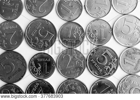 Modern Russian Coins. Top View Finance Object.