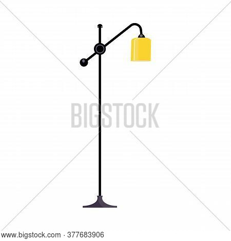 Standard Lamp. Yellow Lampshade, Pole, Floor. Illustration Can Be Used For Topics Like Interior Desi
