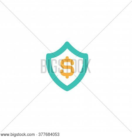 Blue Shield With Dollar Sign. Protected Income, Shield Icon. Vector Flat Icon Isolated On White. Mon