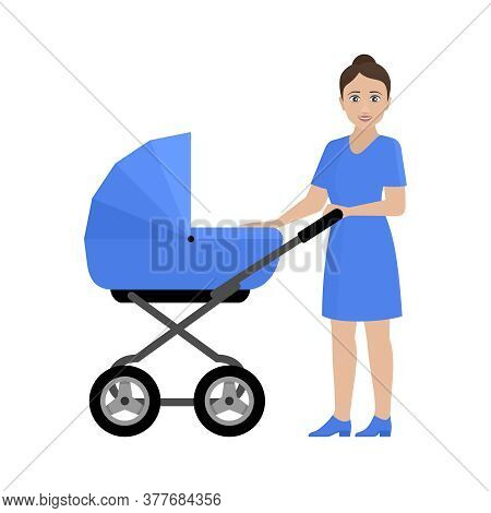 Motherhood - Young Woman With Baby Carriage - Vector Illustration - Mother, Parent, Childhood, Famil