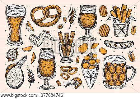 Oktoberfest Clip Art, Set Of Elements. Alcohol. Glass Of Beer, Snacks, Fast Food. German Sausages, C