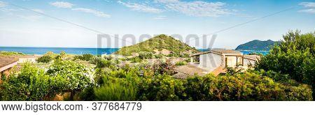 Mediterranean Landscape. Old Villa with Panoramic View on Mediterranean Sea. Sardinia. Italy.