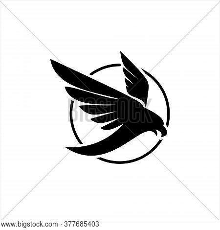 Eagle Logo Flat Black Flying Predator Bird Vector In Circle Frame For Business Design Or Icon Templa