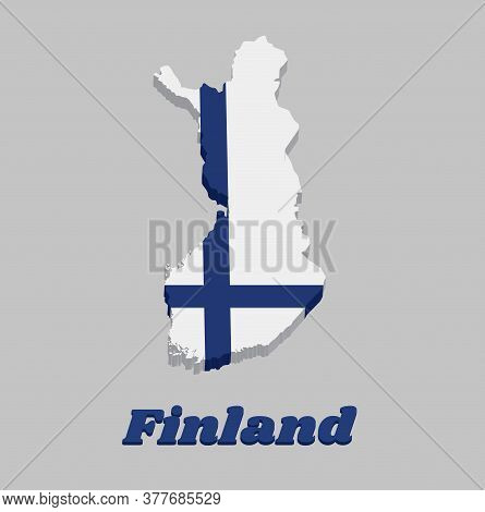 3d Map Outline And Flag Of Finland, Sea Blue Nordic Cross On White Field, With Name Text Finland.