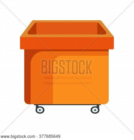 Square Orange Bucket Illustration. Basket, Home, Cleaning. Houseware Concept. Illustration Can Be Us