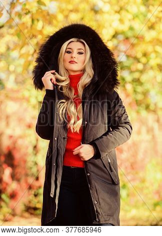 Classic Parka Coat Has Become Wardrobe Icon. Versatile Functional And Stylish. Girl Wear Parka While