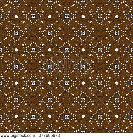 Elegant Flower Motifs On Javanese Batik With Modern Dark Brown Color Design.