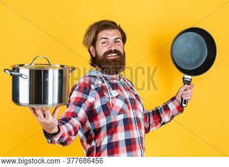 Secret Ingredient Is Joy. Man With Saucepan. Man Hold New Brand Pan. Shopping Kitchenware. Cooking P