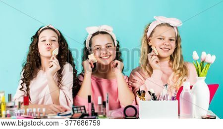 Sweet Look. Smiling Girls Friends Have Fun On Spa Beauty Salon Party. Beauty Portrait Of Three Child