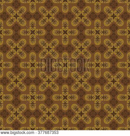 Modern Flower Motifs On Bantul Batik Design With Dark Brown Color.