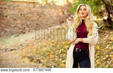 Cold Blonde Concept. How Repair Bleached Hair Fast And Safely. Girl Fashionable Blonde Walk In Autum