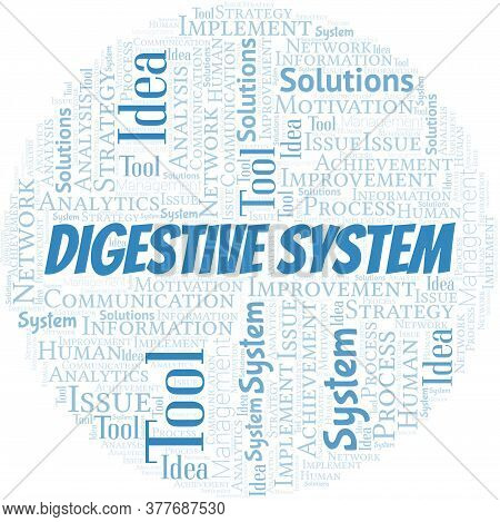Digestive System Typography Vector Word Cloud. Wordcloud Collage Made With The Text Only.