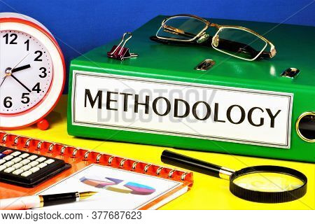 Methodology-text Label On The Registrar's Folder. Teaching About Strategies For Studying The Subject