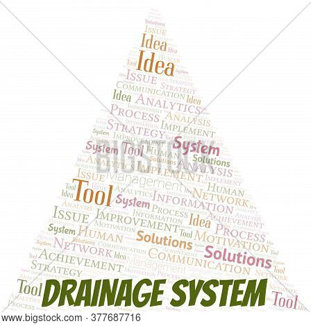 Drainage System Typography Vector Word Cloud. Wordcloud Collage Made With The Text Only.