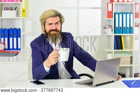 Consultant Worker. Office Routine. Company Executive Working With Documents. Mature Man Business Int