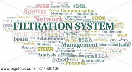 Filtration System Typography Vector Word Cloud. Wordcloud Collage Made With The Text Only.