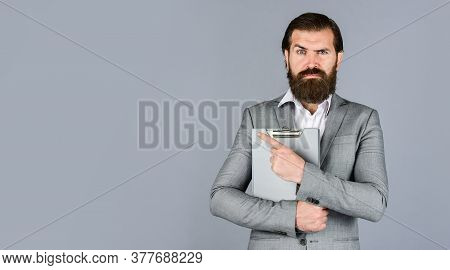 Bearded Man Working In Office. Portrait Of Successful Businessman Dressed In Formal Clothes. Serious
