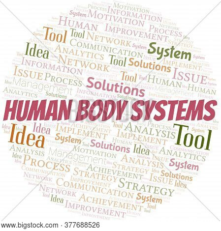 Human Body Systems Typography Vector Word Cloud. Wordcloud Collage Made With The Text Only.