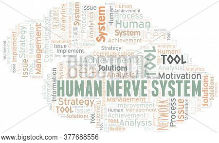 Human Nerve System Typography Vector Word Cloud. Wordcloud Collage Made With The Text Only.