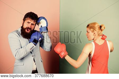 Couple In Love Fighting. Problems In Relationship. Sport. Bearded Man Hipster Fighting With Woman. F