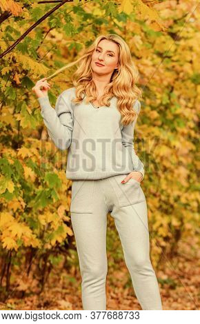 Resting After Long Day. Sporty Girl. Wear Comfort Clothes. Knitwear Clothes For Fall Season. Woman E