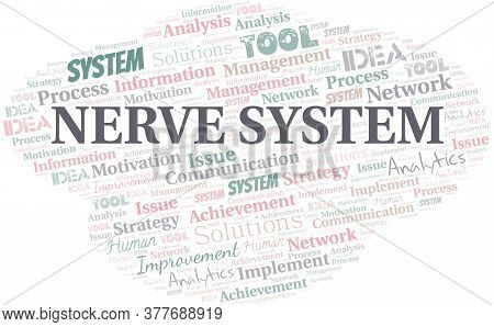 Nerve System Typography Vector Word Cloud. Wordcloud Collage Made With The Text Only.