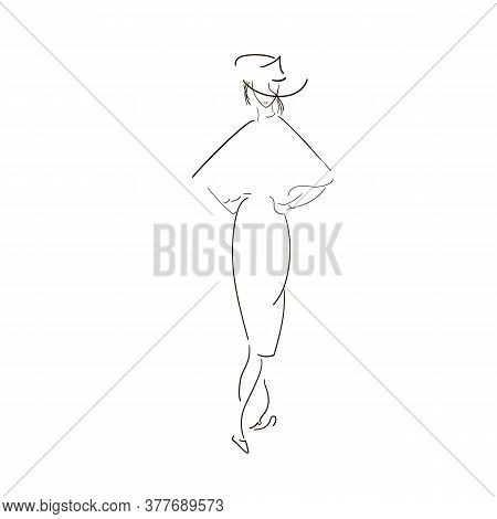 Woman In Designer Clothes. Sketches Feminine Dresses. Silhouettes Female Lines. Sketches Clothes Lin
