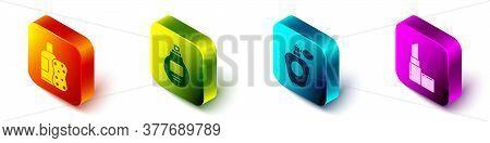 Set Isometric Bottle Of Shampoo And Sponge, Perfume, Perfume And Lipstick Icon. Vector