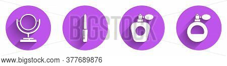 Set Round Makeup Mirror, Nail File, Perfume And Perfume Icon With Long Shadow. Vector